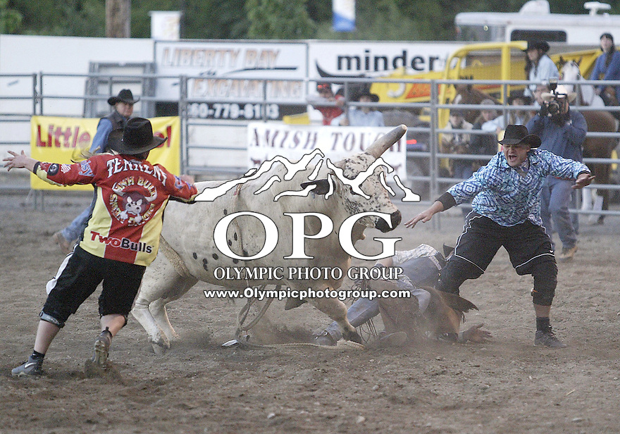 23 June 2007:  Charlie Barker from Terrebonne, Oregon could not score while riding the bull Hard Time at the Kitsap County Thunderbird Benefit Pro Rodeoin Bremerton, Washington.
