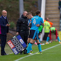 George Glendon of Fleetwood Town is substituted for Aiden O'Neill during the Sky Bet League 1 match between Plymouth Argyle and Fleetwood Town at Home Park, Plymouth, England on 7 October 2017. Photo by Mark  Hawkins / PRiME Media Images.