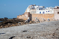 Essaouira, Morocco.  Seaside Ramparts, Town Wall.