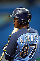 Tampa Bay Rays Angel Perez (87) during an instructional league game against the Boston Red Sox on September 24, 2015 at Tropicana Field in St Petersburg, Florida.  (Mike Janes/Four Seam Images)