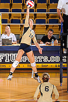 11 September 2011:  FIU outside hitter Marija Prsa (10) hits a kill shot in the third set as the FIU Golden Panthers defeated the Florida A&M University Rattlers, 3-0 (25-10, 25-23, 26-24), at U.S Century Bank Arena in Miami, Florida.
