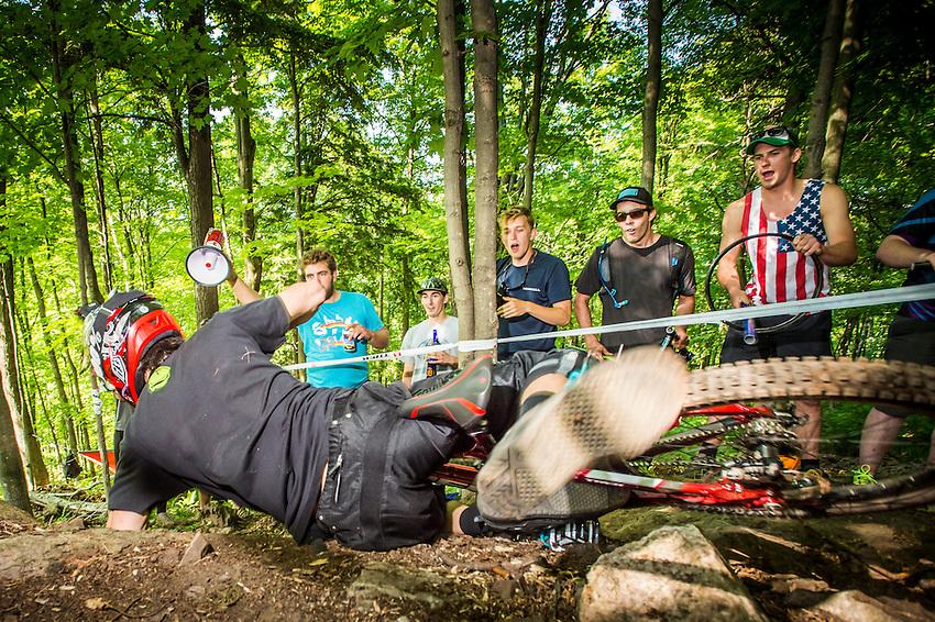 Downhill mountain bike race of the Marquette Trails Fest in Marquette, Michigan