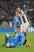 Calcio, semifinale di andata di Tim Cup: Juventus vs Napoli. Torino, Juventus Stadium, 28 febbraio 2017.<br /> Juventus' Paulo Dybala, right, is challenged by Napoli's Marko Rog during the Italian Cup semifinal first leg football match between Juventus and Napoli at Turin's Juventus stadium, 28 February 2017.<br /> UPDATE IMAGES PRESS/Manuela Viganti