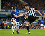 Seamus Coleman of Everton blocks a shot from Ayoze Perez of Newcastle United during the premier league match at Goodison Park Stadium, Liverpool. Picture date 23rd April 2018. Picture credit should read: Simon Bellis/Sportimage
