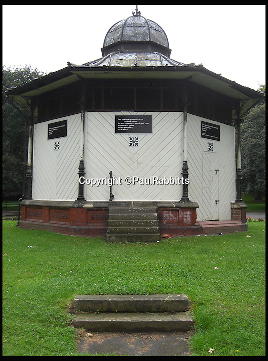 BNPS.co.uk (01202 558833)<br /> Pic: PaulRabbitts/BNPS<br /> <br /> ***Please Use Full Byline***<br /> <br /> The bandstand at North Lodge Park, Darlington, was built in 1903 and still exists today. <br /> <br /> A landscape gardener is trumpeting the great British creation of the bandstand after touring the country's parks to study the iconic structures for a new book.<br /> <br /> Paul Rabbitts' work is a celebration of the Victorian platforms and a throwback to the halycon days of outdoor music when thousands of people would gather in public parks for a brass band performance.