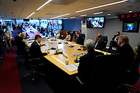 United States President Donald J. Trump, right, attends a teleconference with governors at the Federal Emergency Management Agency headquarters, Thursday, March 19, 2020, in Washington, DC.<br /> Credit: Evan Vucci / Pool via CNP/AdMedia