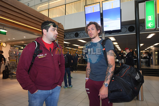 Filippo Pozzato (ITA) Wilier Triestina-Southeast pictured in Schipol Airport on his way from Amsterdam to the airport at Lamezia Terme in the far south of Italy, and then Catanzaro, the start town for Stage 4 tomorrow, The Netherlands. 9th May 2016.<br /> Picture: ANSA/Claudio Peri | Newsfile<br /> <br /> <br /> All photos usage must carry mandatory copyright credit (&copy; Newsfile | ANSA/Claudio Peri)