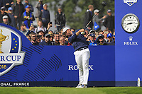 Webb Simpson (Team USA) on the 4th tee during the Friday Foursomes at the Ryder Cup, Le Golf National, Ile-de-France, France. 28/09/2018.<br /> Picture Thos Caffrey / Golffile.ie<br /> <br /> All photo usage must carry mandatory copyright credit (© Golffile | Thos Caffrey)