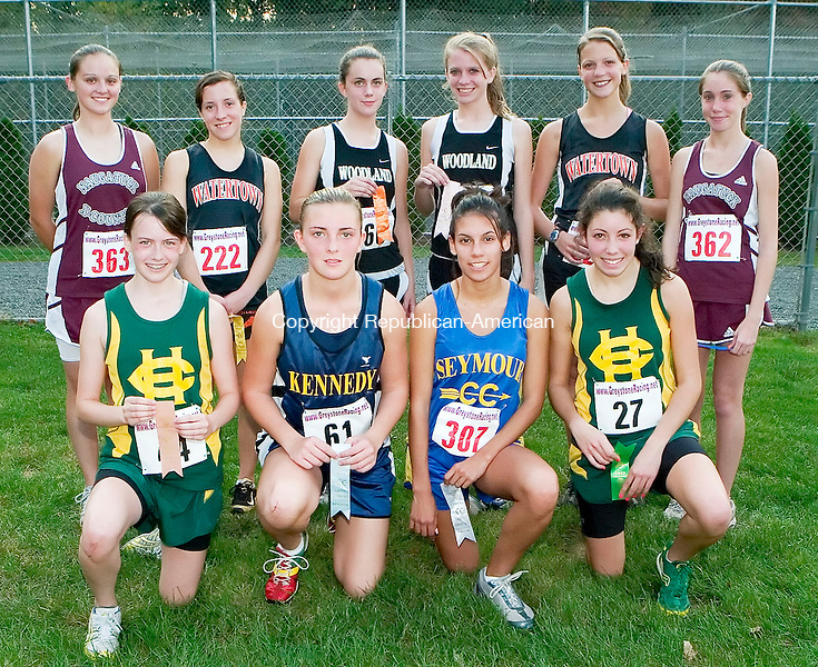 WATERTOWN, CT- 17 OCT 2007- 101707JT08- <br /> All-NVL girls cross-country. From left, front row: Holy Cross' Kelsey Rowley, Kennedy's Amber Alberto, Seymour's Kimmy Suarez, and Holy Cross' Addie DiFrancesco. Back row, from left: Naugatuck's Shelby Hale, Woodland's Sarah Melville, Woodland's Brittany Albright, Watertown's Andrea Szarkowicz, and Naugatuck's Rosa Moriello.<br /> Josalee Thrift / Republican-American