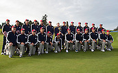 23.09.2014. Gleneagles, Auchterarder, Perthshire, Scotland.  The Ryder Cup.  Tom Watson USA Team Captain and Team USA pose with the Ryder Cup and their caddies, during the Team USA photo call. Players: Rickie Fowler, Jim Furyk, Zach Johnson, Matt Kuchar, Phil Mickelson, Patrick Reed, Jordan Spieth, Jimmy Walker, Bubba Watson, Keegan Bradley, Hunter Mahan and Webb Simpson
