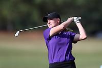 CHAPEL HILL, NC - OCTOBER 13: Anna Morgan of Furman University tees off at UNC Finley Golf Course on October 13, 2019 in Chapel Hill, North Carolina.