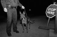 Migration/Control. Officer Dona (the dog) at a checkpoint 20 miles north of Laredo. These US officers, including Dona, look for illegal migrating people, materials, and substance. Laredo, Texas, USA December 2003 © Stephen Blake Farrington
