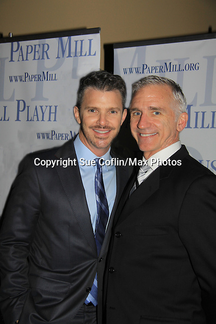 """Denis Jones (Choreographer) & Mark S. Hoebee (Director, Producing Artistic-Director) in """"Thoroughly Modern Miillie"""" at the Paper Mill Playhouse, Millburn, NJ with opening night being on April 14, 2013. Opening Night at after party at Martinis Bistro and Bar.   (Photo by Sue Coflin/Max Photos)"""