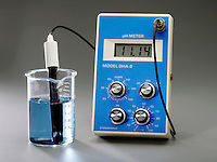 USING A pH METER WITH BROMOTHYMOL BLUE INDICATOR<br /> (3 of 3 - Variations Available).<br /> <br /> 0.10M Ammonia Has A Basic pH of 11.14<br /> <br /> pH, used to express degree of acidity, is an index of hydrogen's chemical activity in a solution. At pH 11.14 the base (OH-) is greater than the acid (H3O), the solution ,NH4OH, is basic & the indicator is blue.