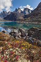 Crystal clear blue water mountain lake in the Arrigetch Peaks, Gates of the Arctic National Park, Alaska.