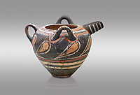 Minoan Kamares Ware  spouted  jug wit 3 handles and polychrome decorations, Phaistos 1800-1650 BC; Heraklion Archaeological  Museum, grey background.<br /> <br /> This style of pottery is named afetr Kamares cave where this style of pottery was first found