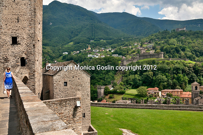 A view of all three castles from the castle wall of Castelgrande in Bellinzona, Switzerland