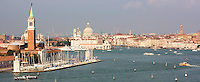 View from the stern of a cruise ship of the southern entrance to the Grand Canal in Venice