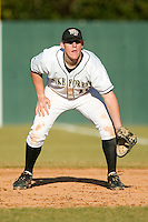 Wake Forest first baseman Allan Dykstra (10) on defense versus Charlotte at Gene Hooks Stadium in Winston-Salem, NC, Tuesday, February 27, 2007.  The Demon Deacons defeated the 49'ers 9-7 in 10 innings.