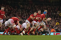 Wales' Gareth Davies whips the ball out <br /> <br /> Photographer Ian Cook/CameraSport<br /> <br /> Under Armour Series Autumn Internationals - Wales v South Africa - Saturday 24th November 2018 - Principality Stadium - Cardiff<br /> <br /> World Copyright &copy; 2018 CameraSport. All rights reserved. 43 Linden Ave. Countesthorpe. Leicester. England. LE8 5PG - Tel: +44 (0) 116 277 4147 - admin@camerasport.com - www.camerasport.com