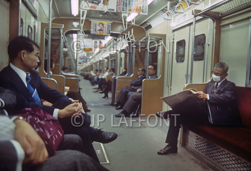 October, 1980. Tokyo, Japan. Typical subway commute in Tokyo.