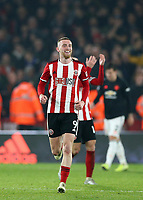 24th November 2019; Bramall Lane, Sheffield, Yorkshire, England; English Premier League Football, Sheffield United versus Manchester United; Oliver McBurnie  of Sheffield United celebrates scoring in the 90th minute to make it 3-3 after a VAR decision - Strictly Editorial Use Only. No use with unauthorized audio, video, data, fixture lists, club/league logos or 'live' services. Online in-match use limited to 120 images, no video emulation. No use in betting, games or single club/league/player publications