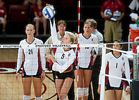 STANFORD, CA - September 2, 2010: Sam Wopat during a volleyball match against UC Irvine in Stanford, California. Stanford won 3-0.