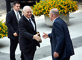 Washington, D.C. - August 8, 2007 -- United States Secretary of the Treasury Henry M. Paulson, Jr., right, welcomes Vice President Dick Cheney, left, to the Treasury Building in Washington, D.C. on Wednesday, August 8, 2007.  They were at the Treasury to participate in a meeting with U.S. President George W. Bush and his Economic Advisors.<br /> Credit: Aude Guerrucci - Pool via CNP