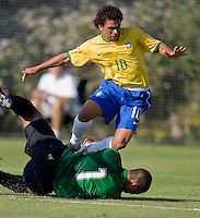 USA's goalkeeper Earl Edwards (1) saves a shot from Brazil's Wellington (10). 2007 Nike Friendlies, which are taking place from Dec. 6-9 at IMG Academies in Bradenton, Fla.