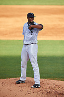 Tampa Yankees starting pitcher Domingo Acevedo (35) looks in for the sign during the first game of a doubleheader against the Bradenton Marauders on April 13, 2017 at George M. Steinbrenner Field in Tampa, Florida.  Bradenton defeated Tampa 4-1.  (Mike Janes/Four Seam Images)
