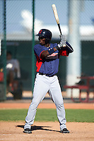 Cleveland Indians minor league outfielder Jorge Martinez #13 during an instructional league game against the Cincinnati Reds at the Goodyear Training Complex on October 8, 2012 in Goodyear, Arizona.  (Mike Janes/Four Seam Images)