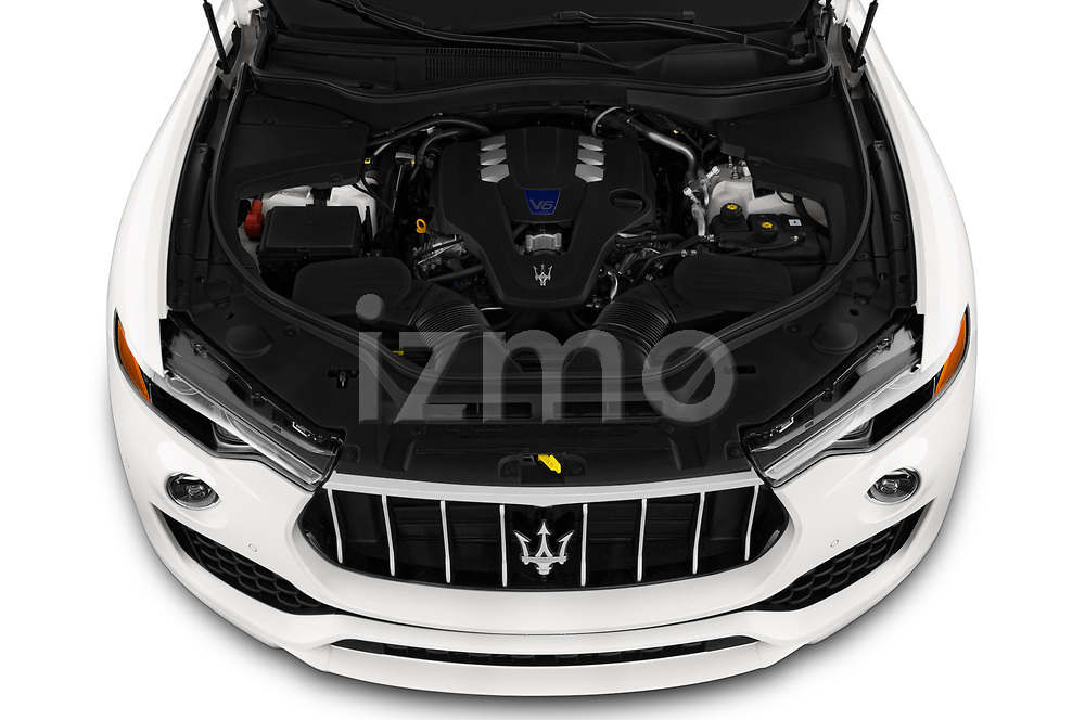 Car stock 2020 Maserati Levante S 5 Door SUV engine high angle detail view