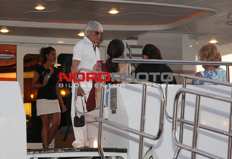 02/08/2013., Sibenik - Bernie Ecclestone and his wife Fabiano Flos and the Company entered into the port of Sibenik on the yacht Peter.<br />   Foto &not;&copy; nph / Dusko Jaramaz