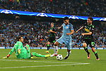 Sergio Aguero of Manchester City rounds Yann Sommer of Borussia Monchengladbach to score his third goal during the UEFA Champions League Group C match at The Etihad Stadium, Manchester. Picture date: September 14th, 2016. Pic Simon Bellis/Sportimage