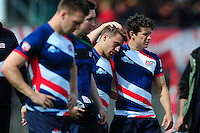 Great Britain players look dejected after the match. FISU World University Championship Rugby Sevens Men's Cup Final between Australia and Great Britain on July 9, 2016 at the Swansea University International Sports Village in Swansea, Wales. Photo by: Patrick Khachfe / Onside Images