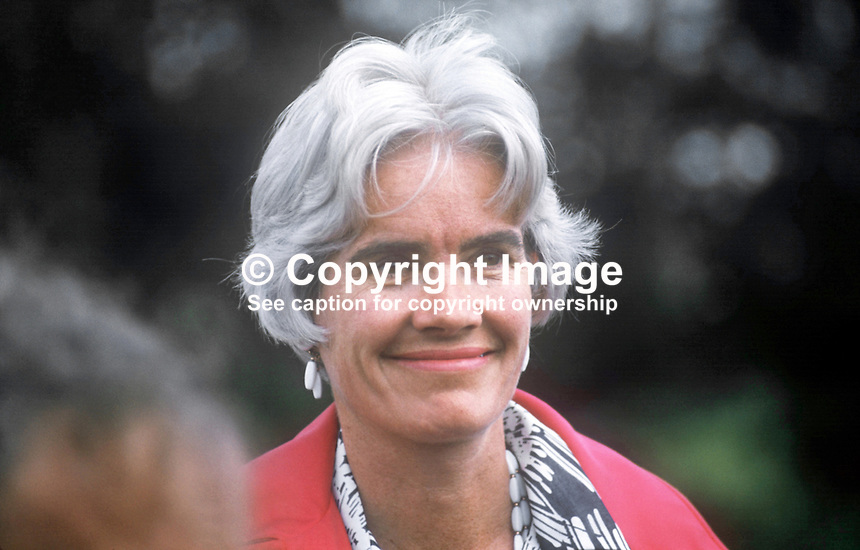 Anne Richardson, wife of Elliot Richardson, US Ambassador to the United Kingdom, pictured at the official opening of the Ulster American Folk Park, Camphill, Omagh, Co Tyrone, N Ireland. 197507300567AR1<br /> <br /> Copyright Image from Victor Patterson, 54 Dorchester Park, Belfast, UK, BT9 6RJ<br /> <br /> t1: +44 28 9066 1296 (from Rep of Ireland 048 9066 1296)<br /> t2: +44 28 9002 2446 (from Rep of Ireland 048 9002 2446)<br /> m: +44 7802 353836<br /> <br /> e1: victorpatterson@me.com<br /> e2: victorpatterson@gmail.com<br /> <br /> The use of my copyright images is subject to my Terms &amp; Conditions.<br /> <br /> It is IMPORTANT that you familiarise yourself with them. They are available on my website at www.victorpatterson.com.<br /> <br /> None of my copyright images may be used on a website unless they are visibly watermarked, i.e. &copy; Victor Patterson within the body of the visible image. Metadata denoting my copyright must NOT be deleted. <br /> <br /> Web use (maximum size - 400 kb) is extra at currently recommended NUJ rates.
