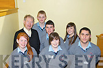 Students from Boherbue Comprehensive School with Micheal O Muircheartaigh at the Youth Celebration Day at the Brandon hotel on Thursday. Front row, from left: Helen Guniey, Eimear and Tadgh Walsh, back row: Micheal O Muircheartaigh, Daniel O'Doherty, Shane Breen and Caoimhe Behan..