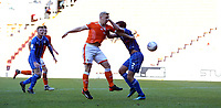 Rochdale's Joe Rafferty denies Blackpool's Mark Cullen a goal scoring chance<br /> <br /> Photographer Stephen White/CameraSport<br /> <br /> The EFL Sky Bet League One - Blackpool v Rochdale - Saturday 6th October 2018 - Bloomfield Road - Blackpool<br /> <br /> World Copyright © 2018 CameraSport. All rights reserved. 43 Linden Ave. Countesthorpe. Leicester. England. LE8 5PG - Tel: +44 (0) 116 277 4147 - admin@camerasport.com - www.camerasport.com