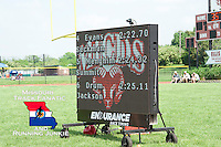 The Endurance Race Timing video board shows the official times for the dramatic 800 finish between Seckman's Katelyn Evans and Rockwood Summit's Melissa Menghini for the 4th and final state track meet qualifying spot. Menghini had a slight lead over Evans down the homestretch but appeared to collapse just before the finish while Evans fell to the track herself but was able to stumble across the finsh line.