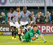 9th September 2017, Galway Sportsground, Galway, Ireland; Guinness Pro14 Rugby, Connacht versus Southern Kings; Eoghan Masterson goes over the line for Connacht's second try in the 34th minute