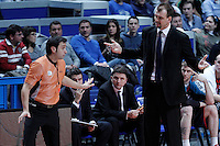 Caja Laboral Baskonia's coach Zan Tabak (r) have words with the referee Carlos Peruga during Liga Endesa ACB match.January 6,2012. (ALTERPHOTOS/Acero) /NortePhoto