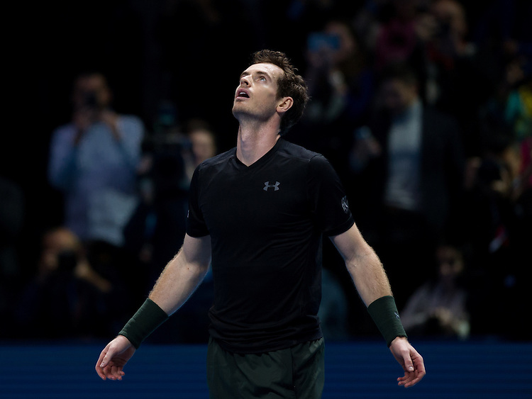 Andy Murray of Great Britain celebrates his victory over Novak Djokovic of Serbia in their men&rsquo;s singles Final match on day eight of the ATP World Tour Finals - Andy Murray def Novak Djokovic 6-3, 6-4<br /> <br /> Photographer Ashley Western/CameraSport<br /> <br /> International Tennis - Barclays ATP World Tour Finals - Day 8 - Sunday 20th November 2016 - O2 Arena - London<br /> <br /> World Copyright &copy; 2016 CameraSport. All rights reserved. 43 Linden Ave. Countesthorpe. Leicester. England. LE8 5PG - Tel: +44 (0) 116 277 4147 - admin@camerasport.com - www.camerasport.com