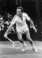 1977,Tennis, Wimbledon, Tom Okker (NED)in action against Borg in the semi final