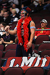 March 6, 2015; Las Vegas, NV, USA; Loyola Marymount Lions fan cheers against the Gonzaga Bulldogs during the second half of the WCC Basketball Championships at Orleans Arena.