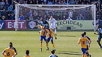 Anthony Stewart of Wycombe Wanderers beats Matt Green of Mansfield Town in the air during the Sky Bet League 2 match between Wycombe Wanderers and Mansfield Town at Adams Park, High Wycombe, England on 25 March 2016. Photo by Andy Rowland.
