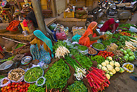 Women selling vegetables at a street market, Jaisalmer, Rajasthan, India