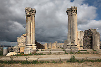 Main entrance of the House of the Columns, with Corinthian columns flanking the entrance, and the smaller entrance for staff on the right, Volubilis, Northern Morocco. Volubilis was founded in the 3rd century BC by the Phoenicians and was a Roman settlement from the 1st century AD. Volubilis was a thriving Roman olive growing town until 280 AD and was settled until the 11th century. The buildings were largely destroyed by an earthquake in the 18th century and have since been excavated and partly restored. Volubilis was listed as a UNESCO World Heritage Site in 1997. Picture by Manuel Cohen