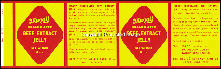 BNPS.co.uk (01202 558833)<br /> Picture: Nestle/BNPS<br /> <br /> ****Please use full byline****<br /> <br /> Beef extract jelly.<br /> <br /> A selection of vintage chocolate and sweets wrappers have been unearthed to help trigger happy memories in dementia sufferers.<br /> <br /> Some of the earliest examples of the Rowntrees packaging dates from the 1920s and includes the first wrappers for famous treats such as Aero, Dairy Box, and Fruit Gums.<br /> <br /> As the brands were updated over the years the paper casing was gradually changed but examples of the early versions were stored in an archive.<br /> <br /> Historians at Rowntrees have now placed images of the packets on an online document so that they can be seen by dementia sufferers as a way to reminisce.