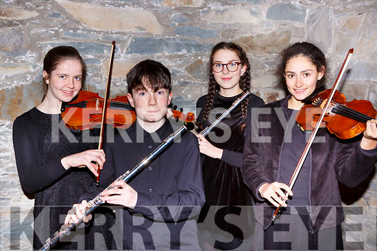 Kate Lynch Glenflesk, Seamus Fleming Castleisland, Emily Crowe Tralee and Jasmine Ryle Tralee who played at the Joy to the World-A Christmas Reflection concert in St Marys Cathedral on Friday night