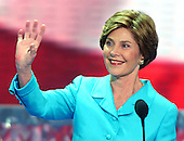 New York, NY - August 31, 2004 --  First Lady Laura Bush speaks at the 2004 Republican Convention in Madison Square Garden in New York on August 30, 2004..Credit: Ron Sachs / CNP.(RESTRICTION: No New York Metro or other Newspapers within a 75 mile radius of New York City)